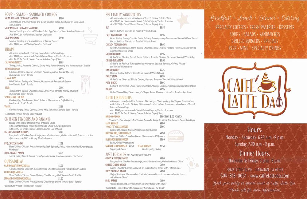 Online Menu Of Caffe Latte Da Restaurant Harahan Louisiana