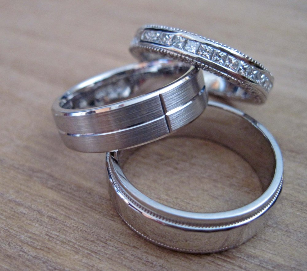White Gold Men's And Lady's Wedding Bands.