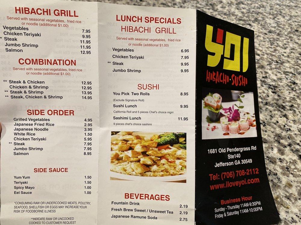 Yoi Hibachi Sushi: 1681 Old Pendergrass Rd, Jefferson, GA