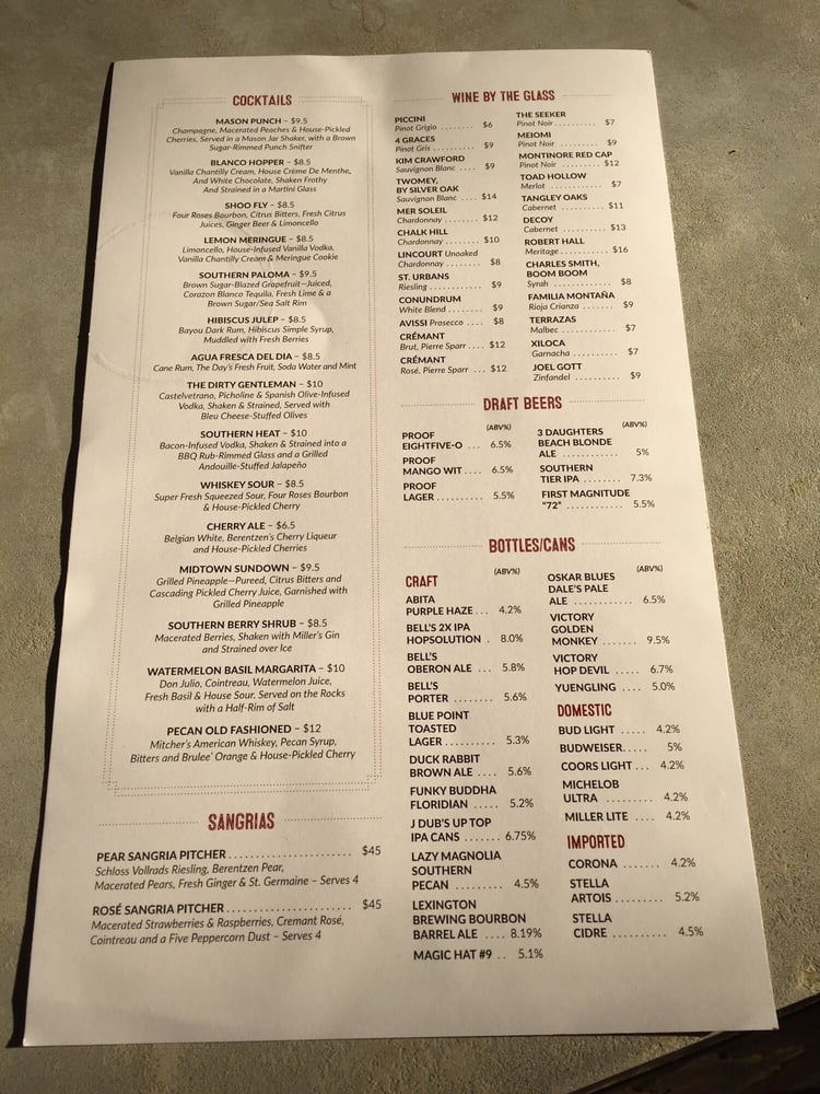 Heres Their Stronger Than Water Menu A List Of Table Custom - Table 23 menu