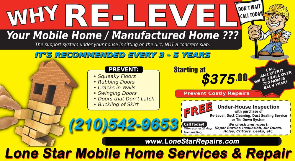 Mobile home leveling re leveling relevel releveling re level san antonio texas yelp - Lionsstar mobel ...