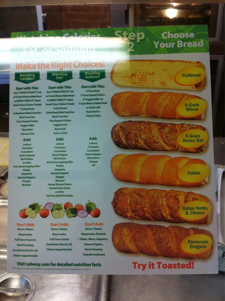 All The Bread Choices And Nutritional Info