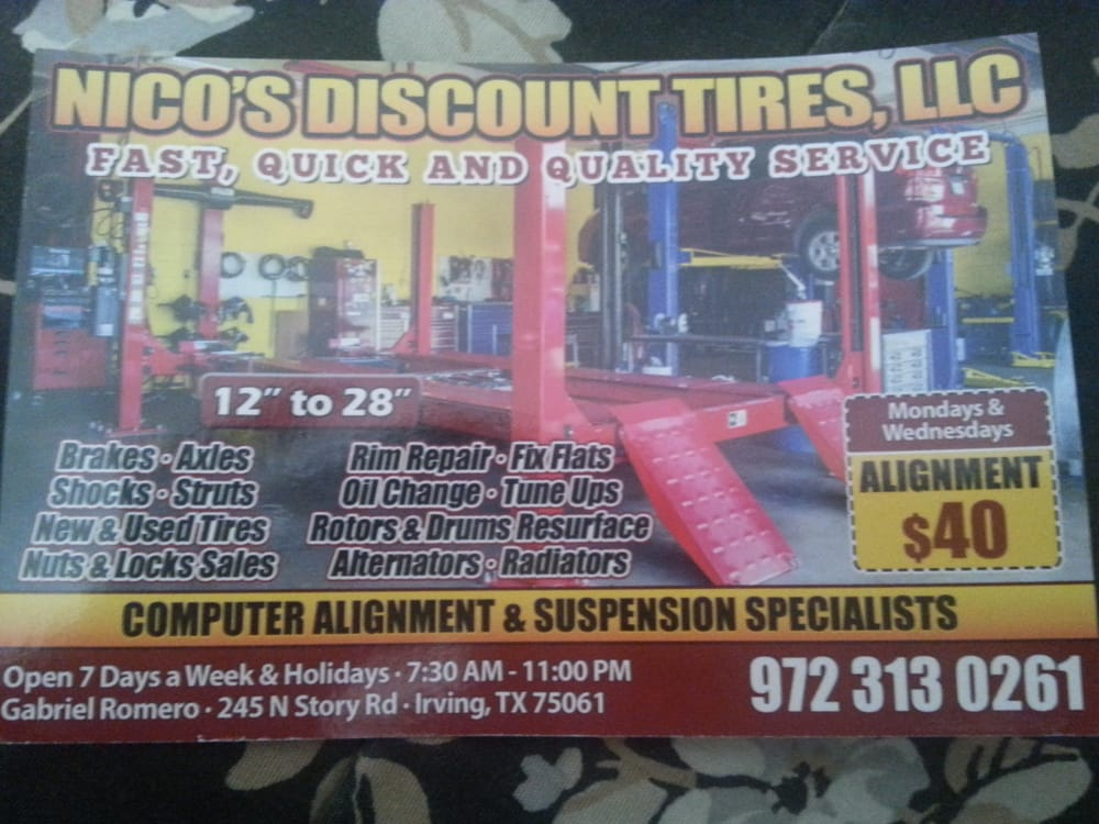 Nico S Discount Tires 10 Reviews Tires 245 N Story Rd Irving