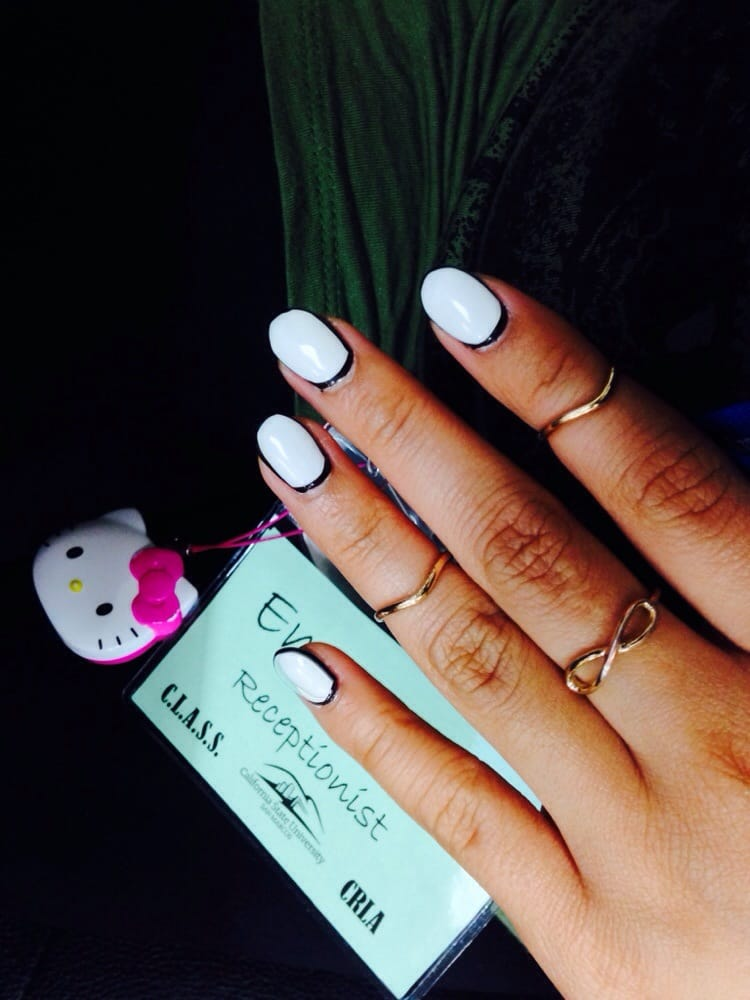 Nails by vivian oval shaped with white gel nail polish for Acrylic toe nails salon