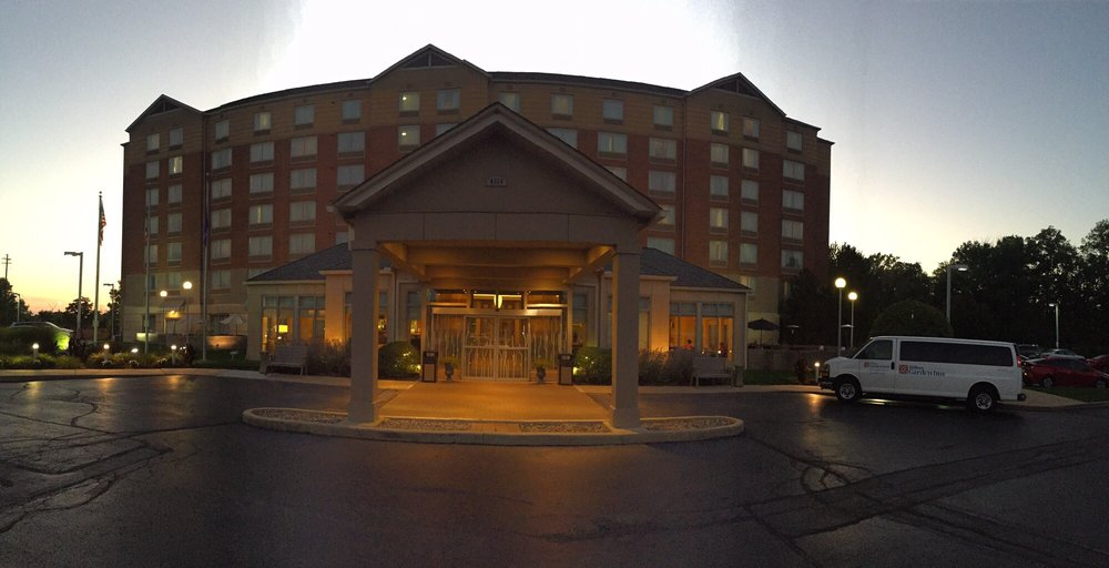 Evening Panoramic View Of Front Entrance Hilton Garden Inn Cleveland Yelp