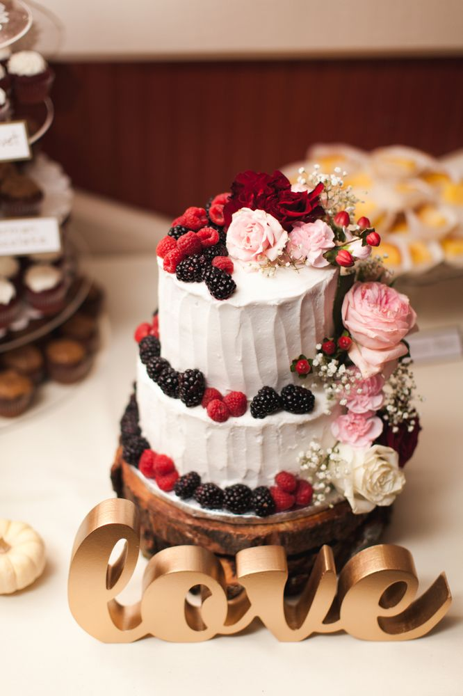 My daughter only wanted a small 2 tier wedding cake with berries and ...