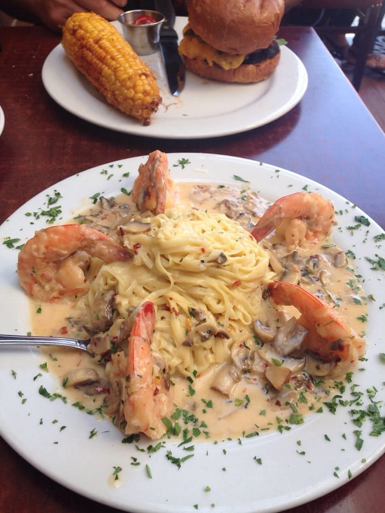 Shrimp scampi the sauce was a little too thick for a for Rock n fish manhattan beach