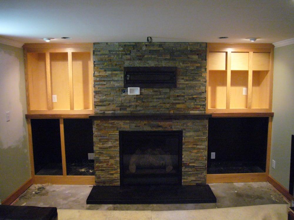 Indoor Gas Insert Fireplace With Corten Steel Mantle
