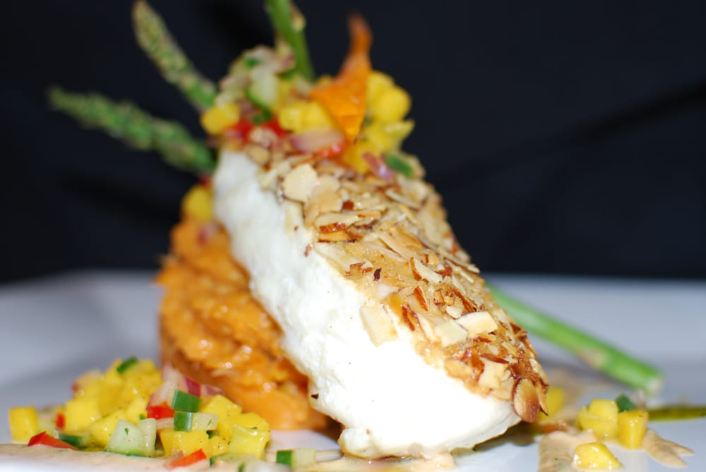 Almond crusted halibut, tropical sweet potatoes, mango ...