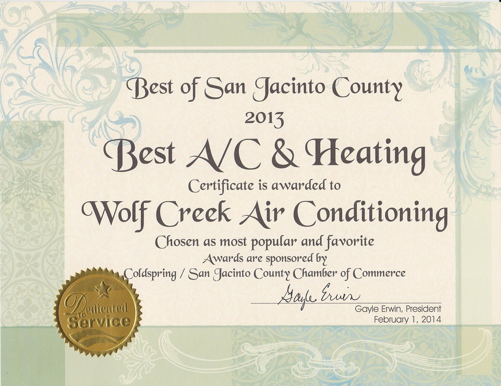 Wolf Creek Air Conditioning: 3601 Fm 224 Rd, Coldspring, TX
