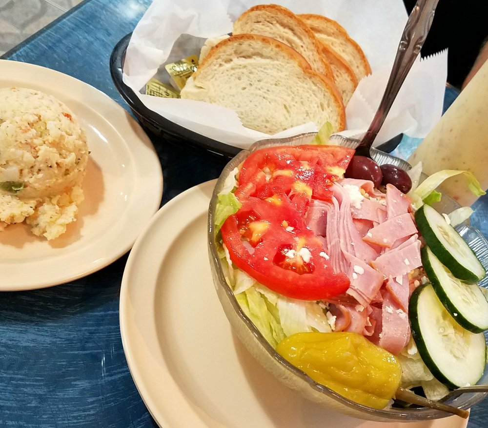 California Pizza Kitchen Tampa: Small Greek Salad With Potato Salad And Bread
