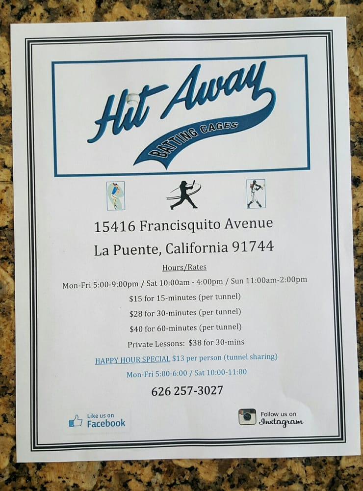 Hit Away Batting Cages: 15416 Francisquito Ave, La Puente, CA