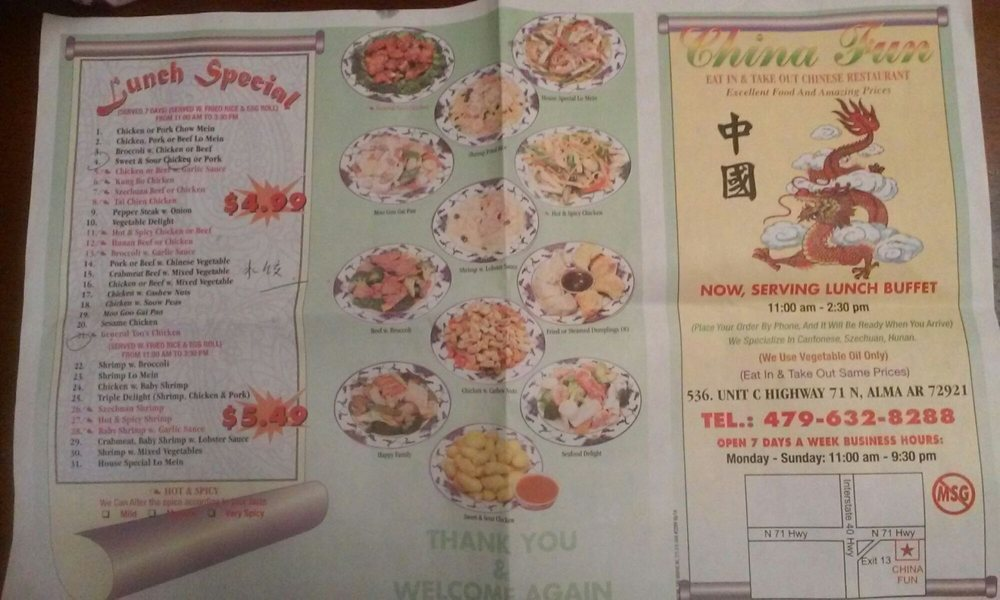 China Fun: 536 Hwy 71 N, Alma, AR