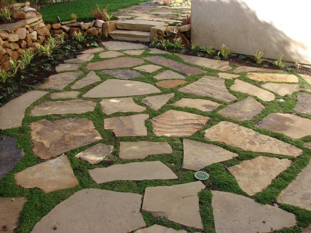 Flagstone Patio With Stone : Soft set flagstone patio with ground cover yelp
