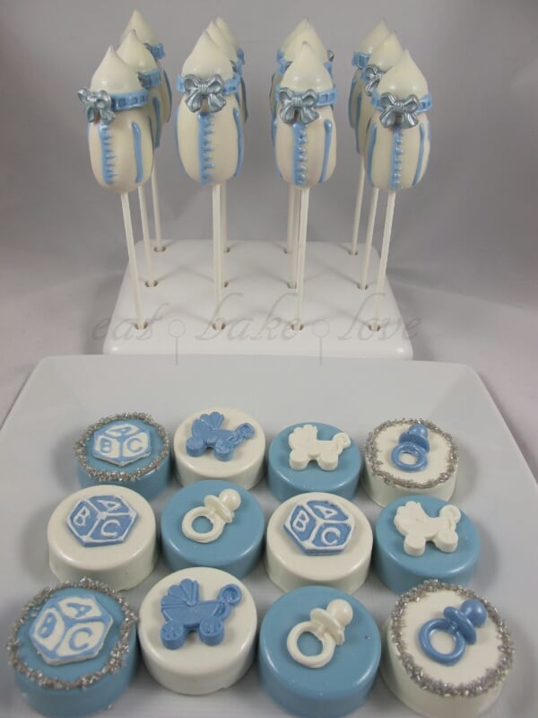 Baby Shower Chocolate Covered Oreos With Baby Bottle Cake Pops Yelp