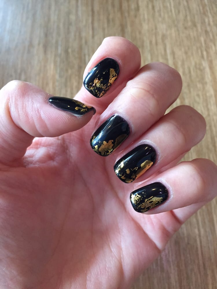 Black gel nails with gold foil! - Yelp