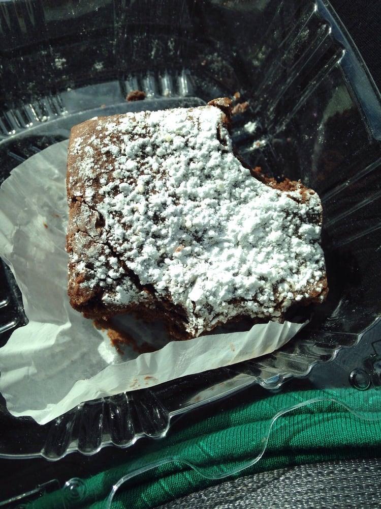 Fudge brownie with powdered sugar! - Yelp