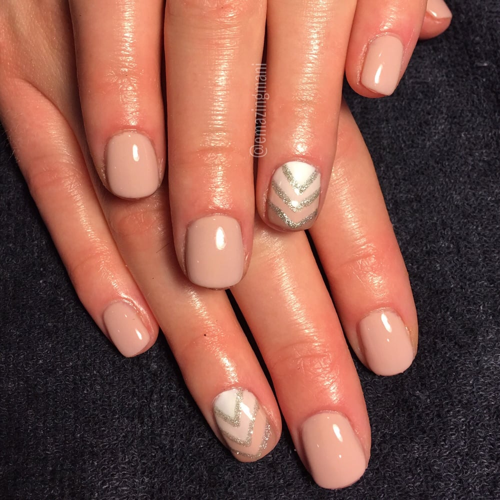 Ombré meets chevron nude gel manicure (extended manicure) All nail ...