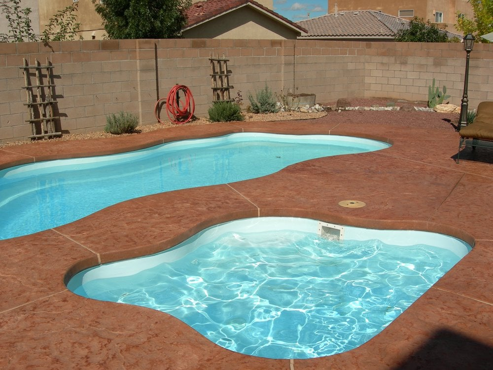 New pool install viking fiberglass pool stamped colored for New pool installation