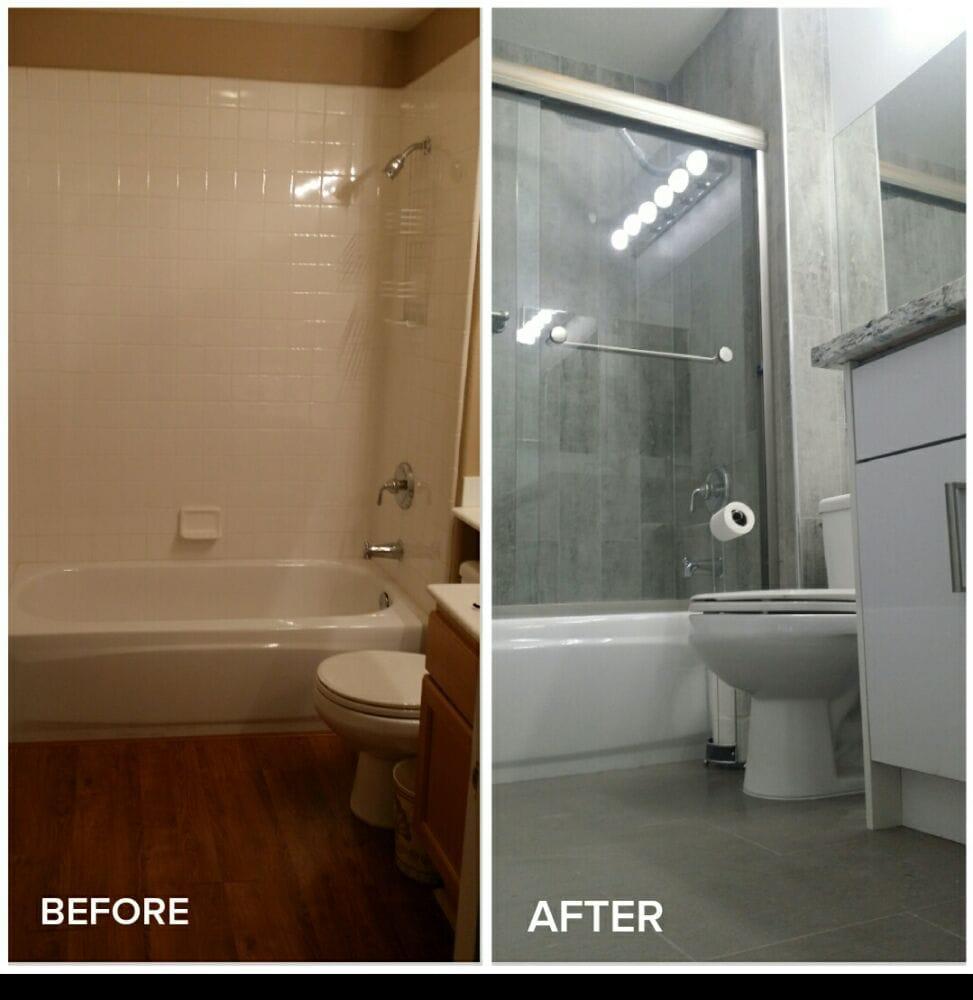 Bathroom Remodel Tiled Walls Tiles Floors New Vanity And Quartz - Bathroom remodel huntington beach