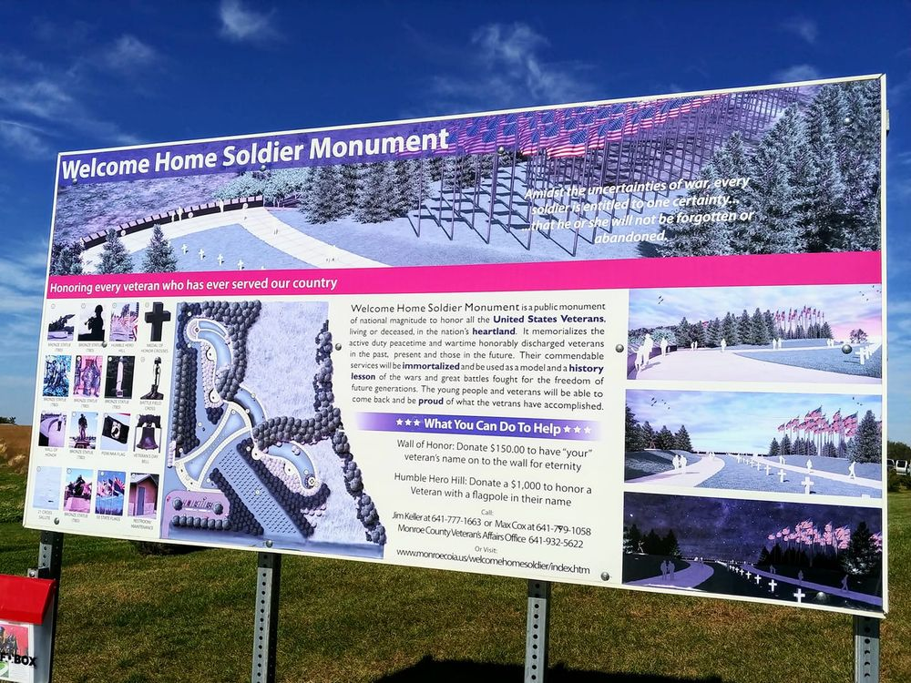 Welcome Home Soldier Monument: 6451 Hwy-34 W, Albia, IA