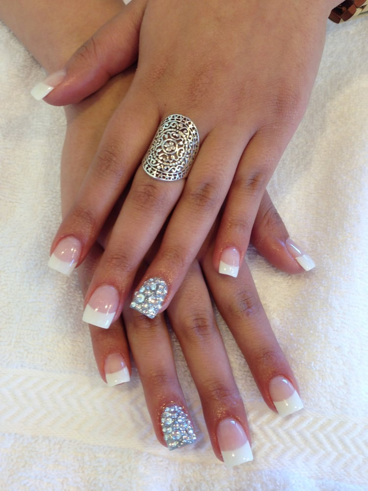 French Toe Nails With Diamonds