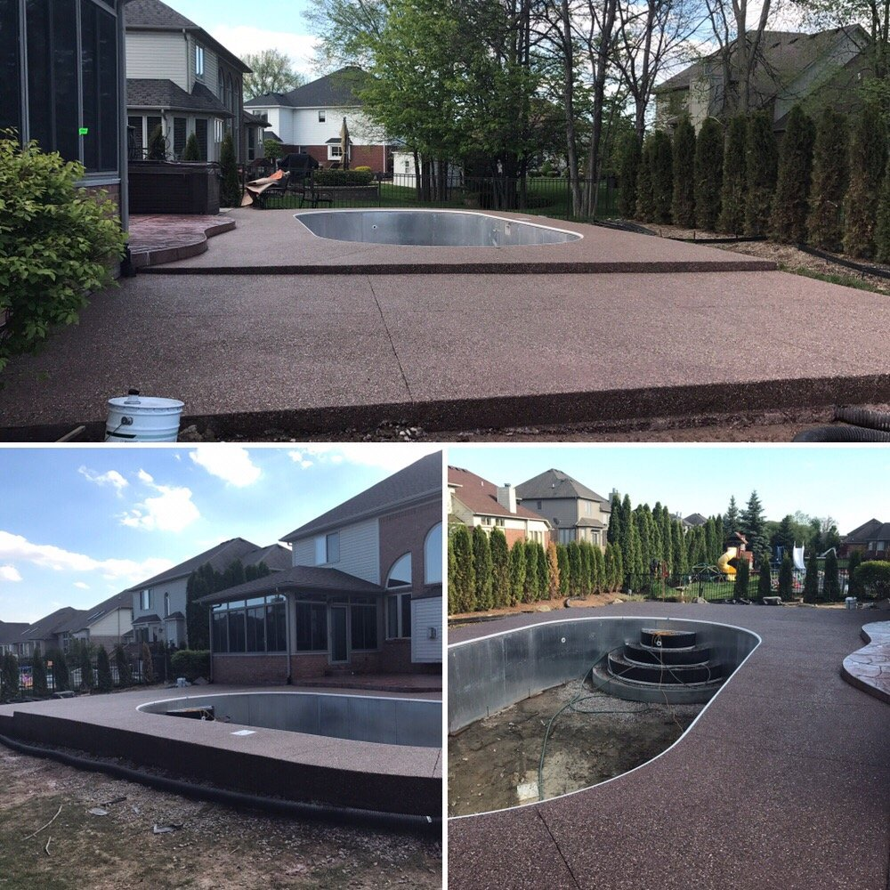 Sealing exposed aggregate pool deck - Photo Of Agc Concrete Mount Clemens Mi United States Newly Installed Dark
