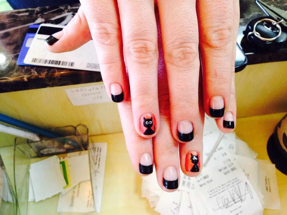 Gel French manicure with extra wide white tips $23 - Yelp