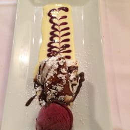 Broadway Bistro - Nyack, NY, United States. Incredible dessert. Beggars purse. Raspberry sorbet to die for.
