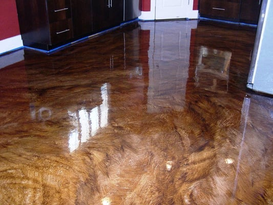Stained Concrete Flooring Ultra High Gloss Epoxy