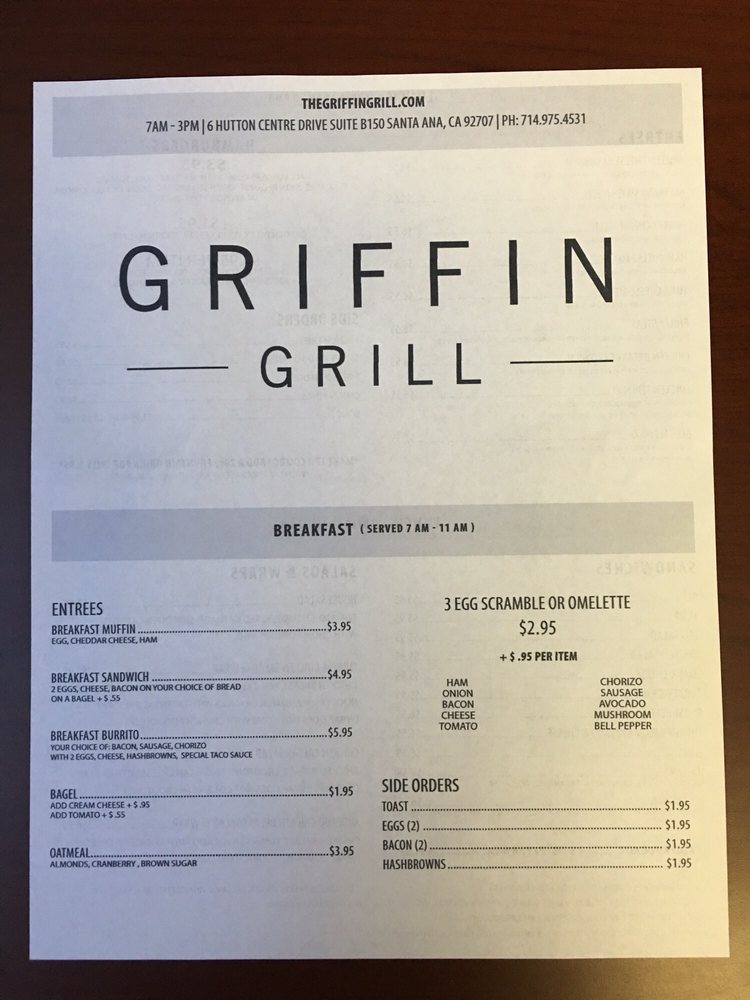 The Griffin Grill Menu Choose Wisely Yelpers Yelp