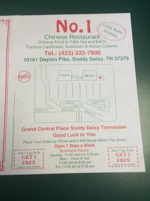Number One Chinese Restaurant 10161 Dayton Pike Soddy Daisy, TN