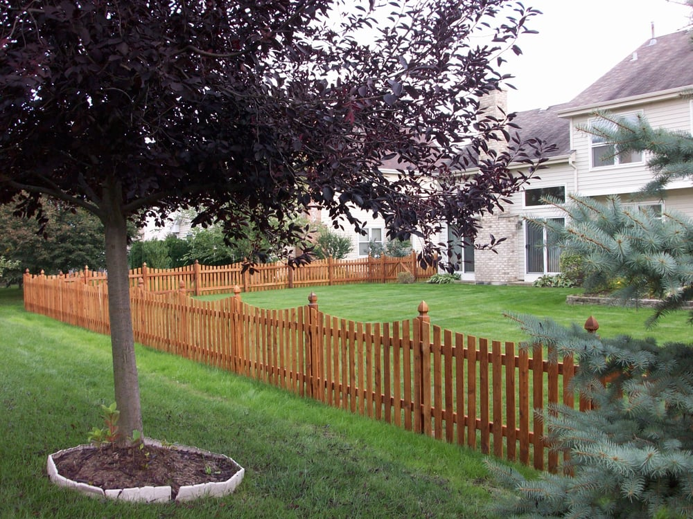 Western Red Cedar Spaced Picket Scalloped Fence With
