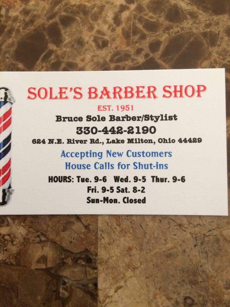 Sole's Barber Shop: 624 NE River Rd, Lake Milton, OH
