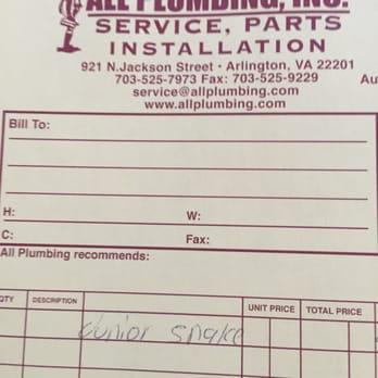 Photo Of All Plumbing   Arlington, VA, United States. Sales Receipt  Plumbing Receipt