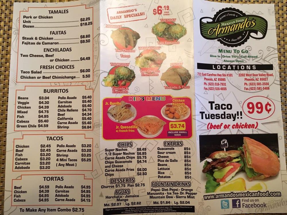 Online Menu Of Armandos Mexican Food Restaurant Phoenix