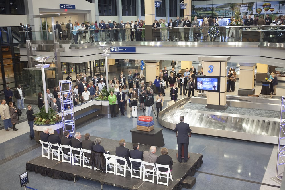 The Connection At Huntsville >> Celebration for the grand opening of Huntsville International Airport's new baggage claim area ...