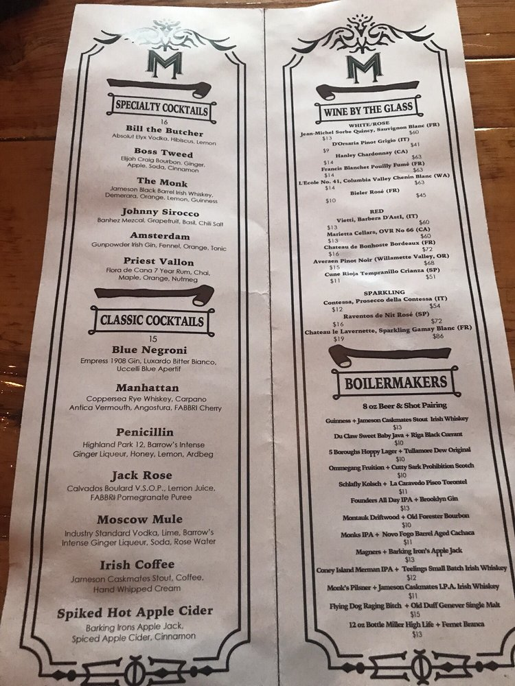 P O Of Monk Mcginns New York Ny United States Drink Menu