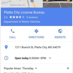 Missouri State Motor Vehicle Registration Departments Of Vehicles 1211 Branch St Platte City Mo Phone Number Yelp