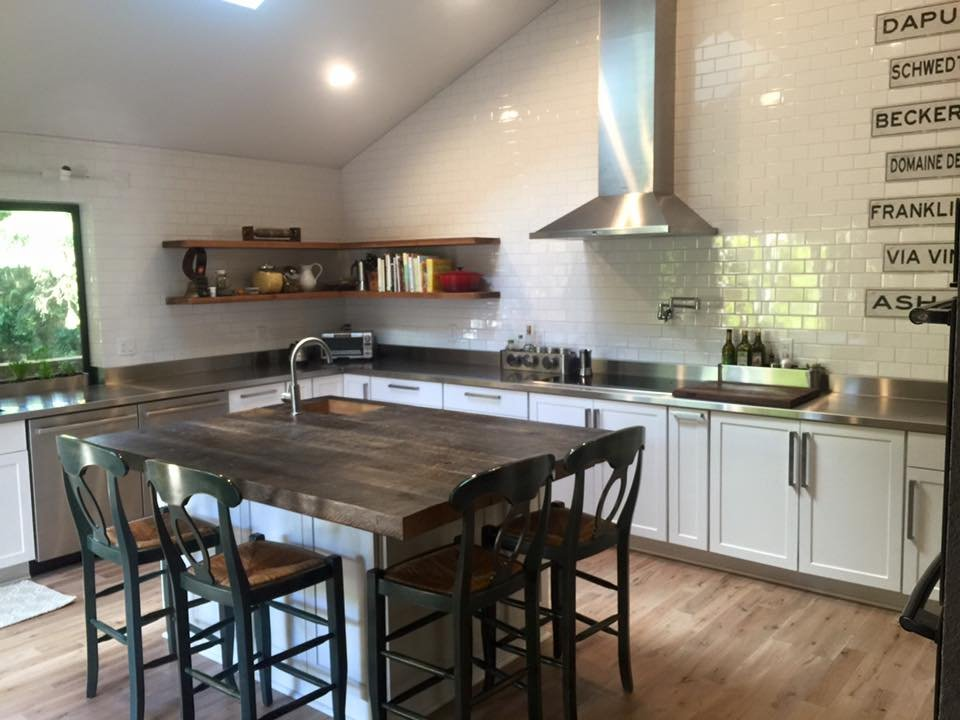 Kitchen Stainless Counters On Surround Butcher Block Island And