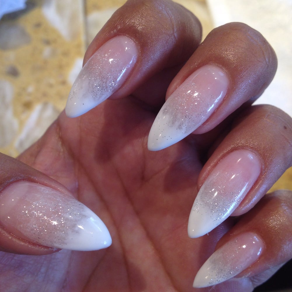 white ombr233 stiletto glitter nails jenni amazing as