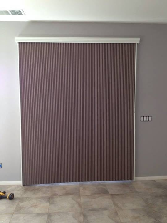 Verticell or Vertiglide cellular blackout shade for sliding glass