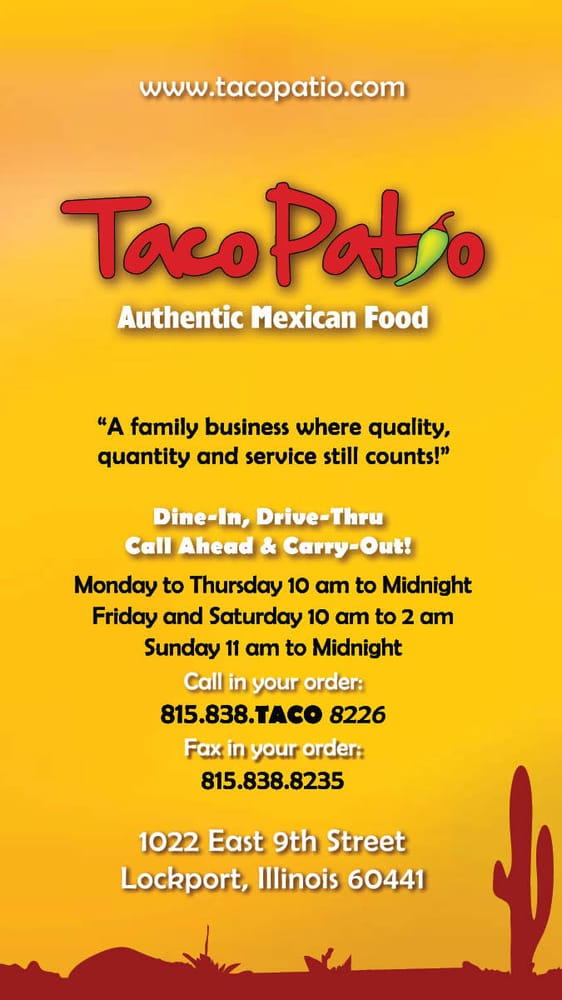 Photo Of Taco Patio   Lockport, IL, United States. Menu Page 1