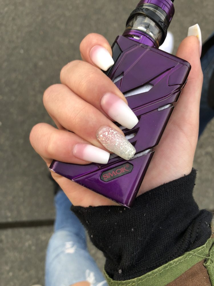 9 photos for Elegant Nail Design - Pink To White Ombré With A Glitter Accent Nail And Matte Top Coat - Yelp
