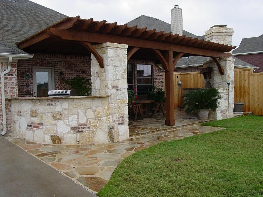 Outdoor kitchen flagstone patio fireplace patio cover Flagstone patios colleyville tx