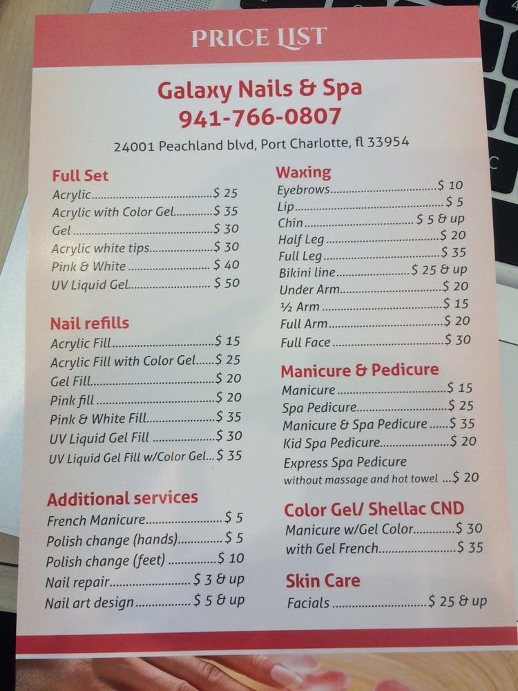 Galaxy Nails menu and prices - Yelp