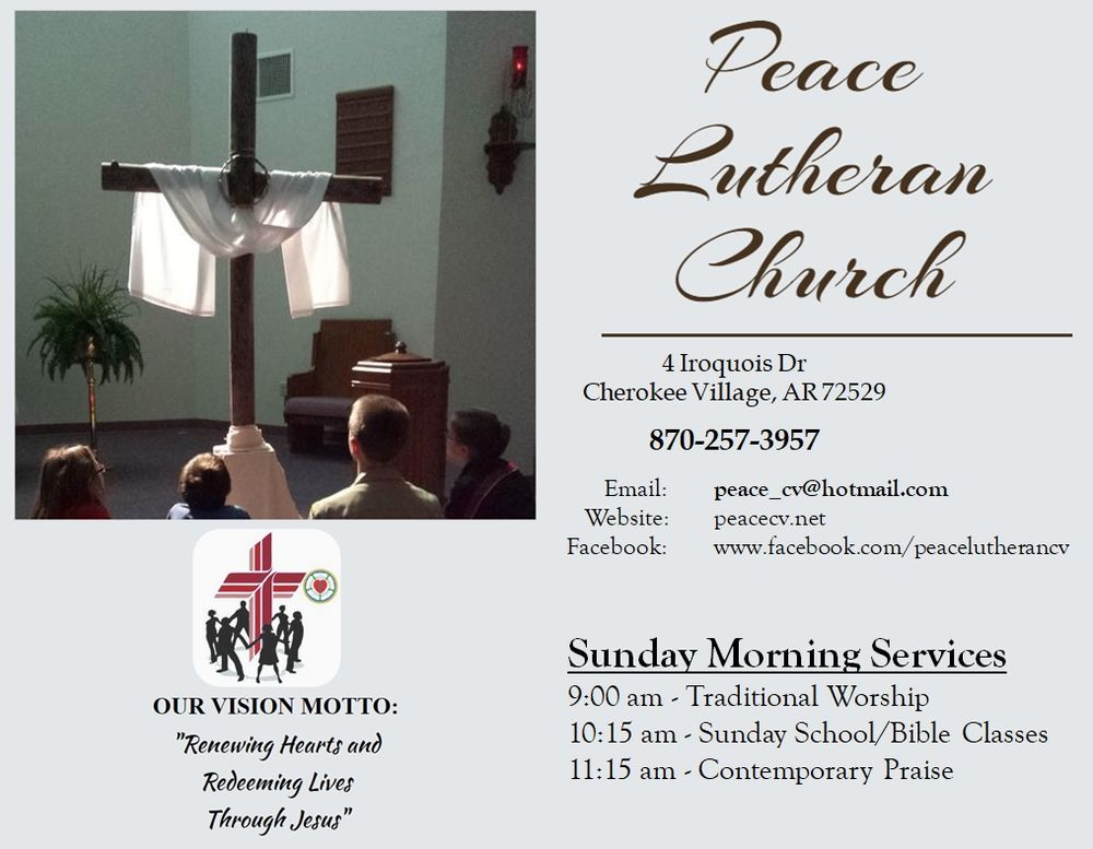 Peace Lutheran Church: 4 Iroquois Dr, Cherokee Village, AR