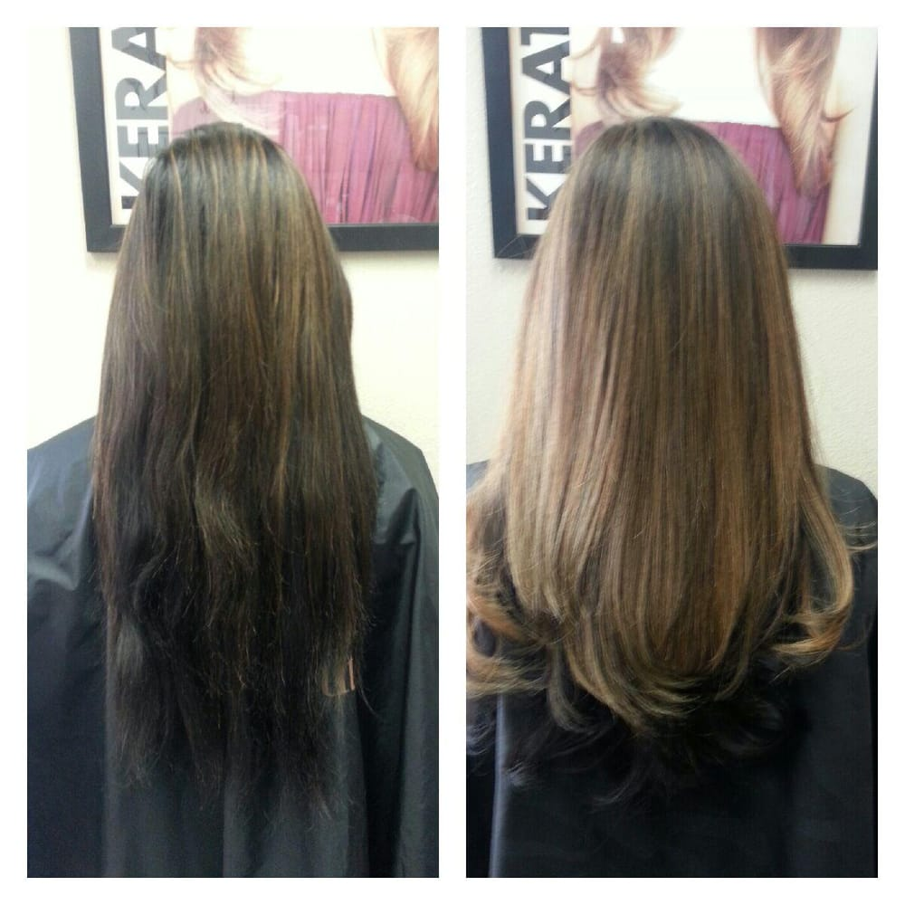 Trim with partial highlights and subtle ombre..before and ...
