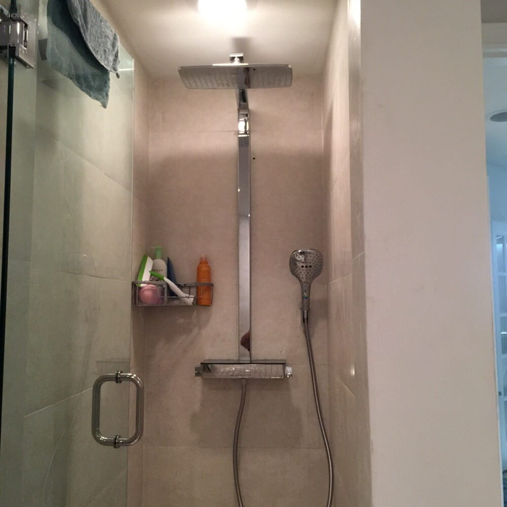 New exposed thermostatic mixing shower system from HansGrohe. This ...