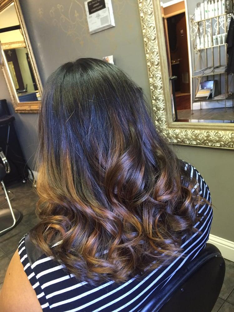 Balayage Natural Hair Color Base With Caramel Highlights Yelp